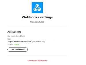 IFTTT Webhook settings nello