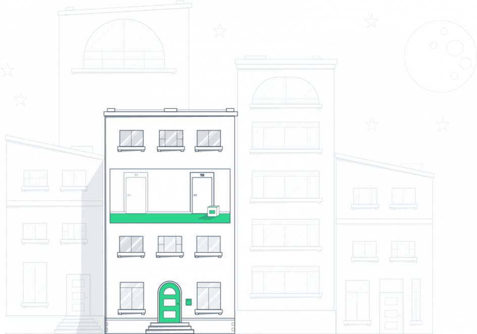 Illustration-Hallway delivery at night-nello