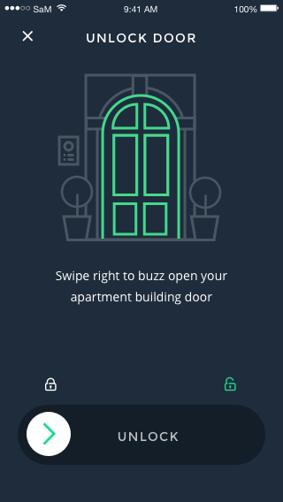 Open your apartment door by swiping right on your mobile phone